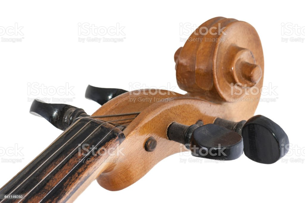 Old wooden violin detail stock photo