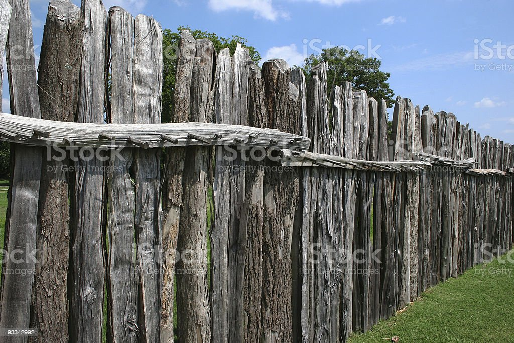 Old Wooden Virginia Fort Wall or Fence stock photo