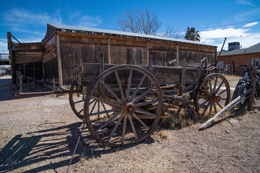Old wooden wagon in Tombstone, Arizona