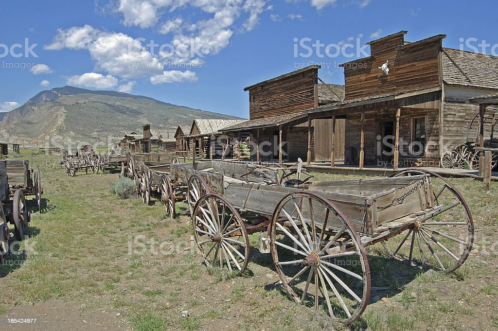 Old Wooden Wagons in a Ghost Town stock photo