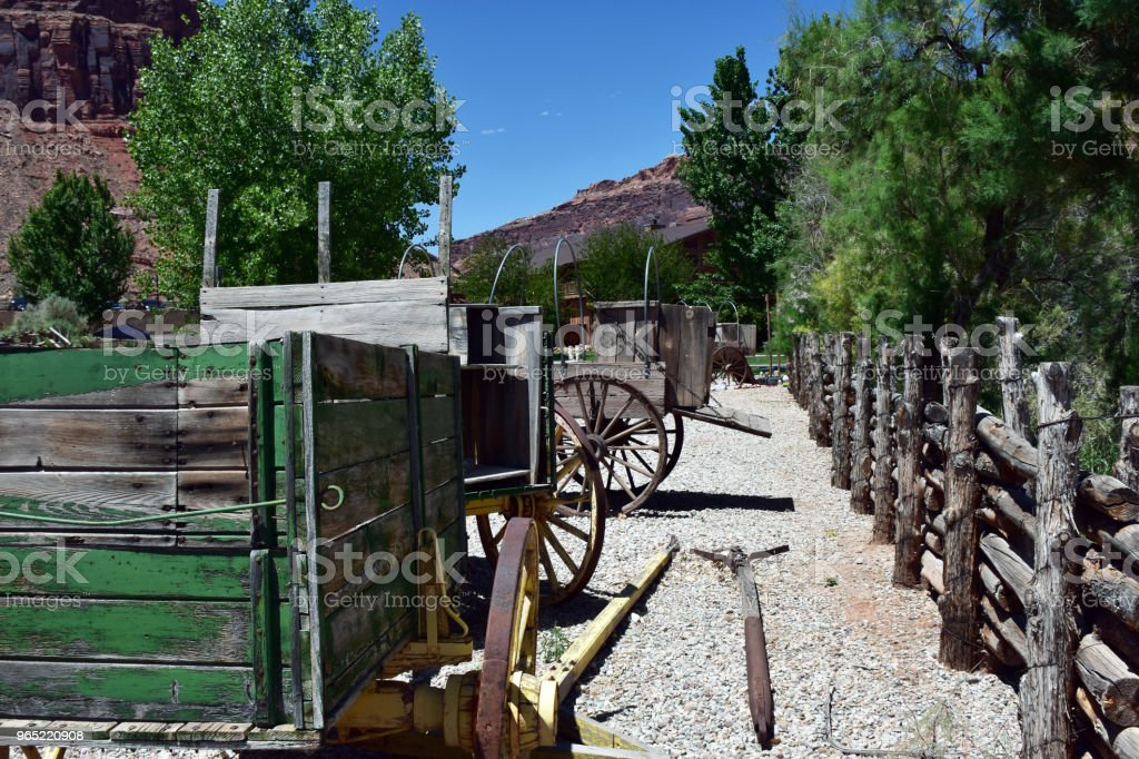 Old wooden wagons in Moab royalty-free stock photo