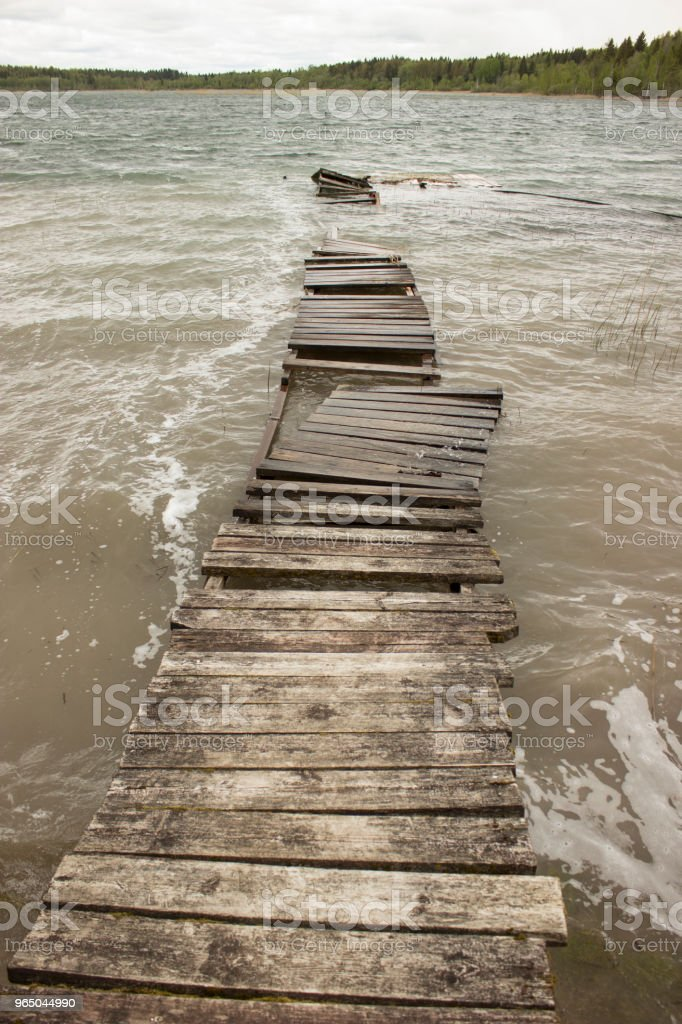 Old wooden walkways. Lake. Storm zbiór zdjęć royalty-free