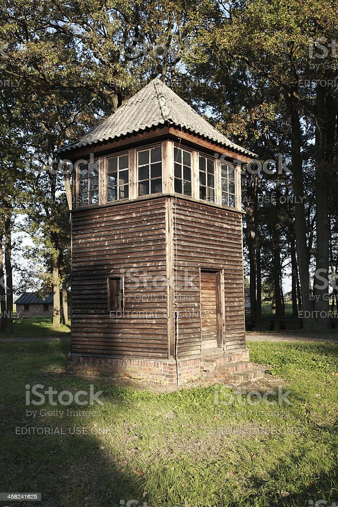 Old Wooden Watch Tower, Auschwitz royalty-free stock photo