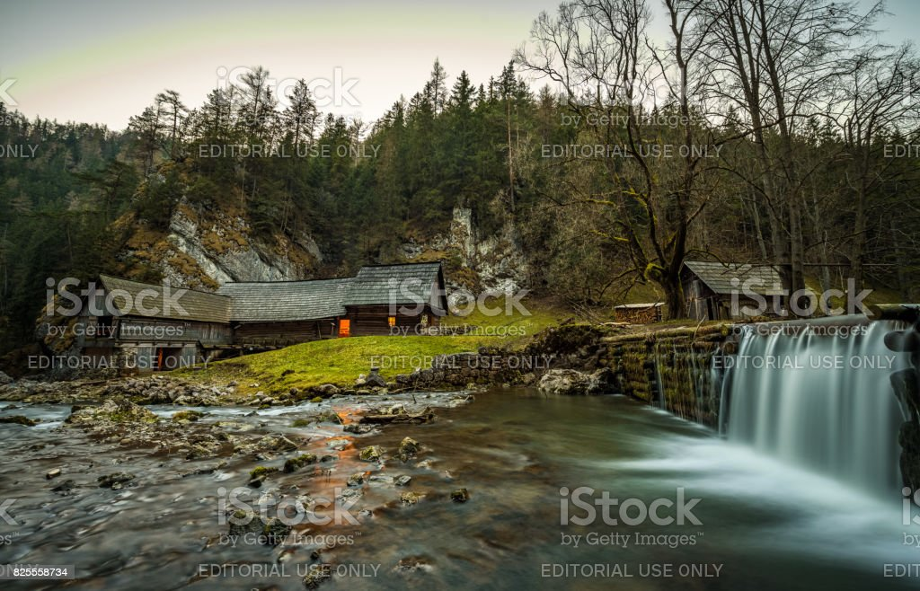 Old wooden water mill in Slovakia stock photo