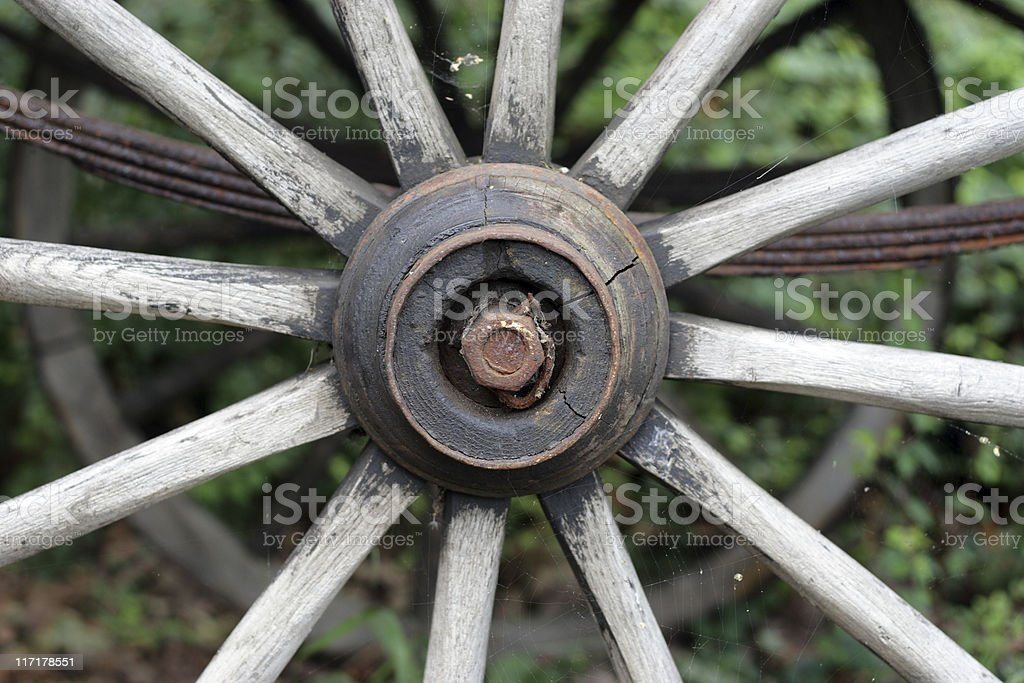 Old wooden wheel from wagon. royalty-free stock photo