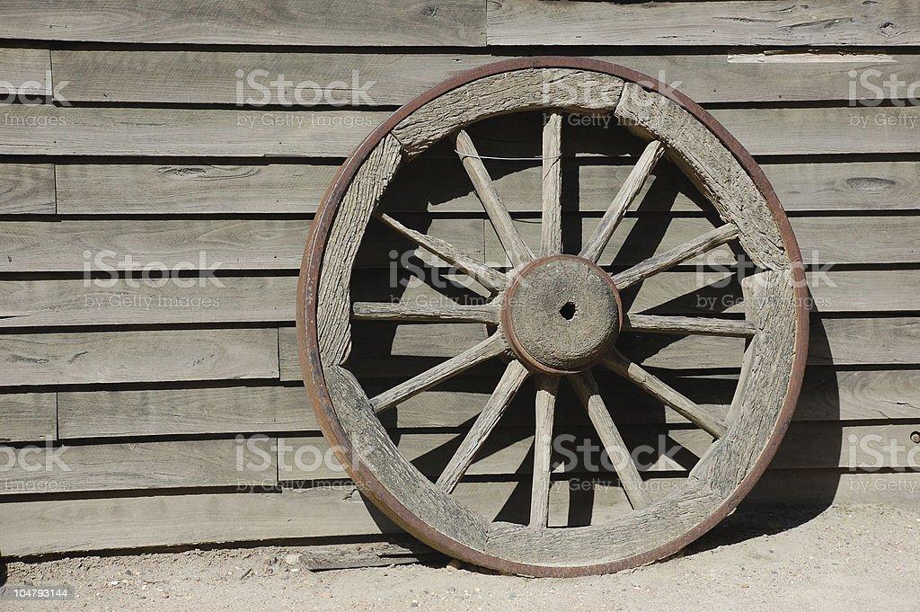 Old wooden wheel stock photo