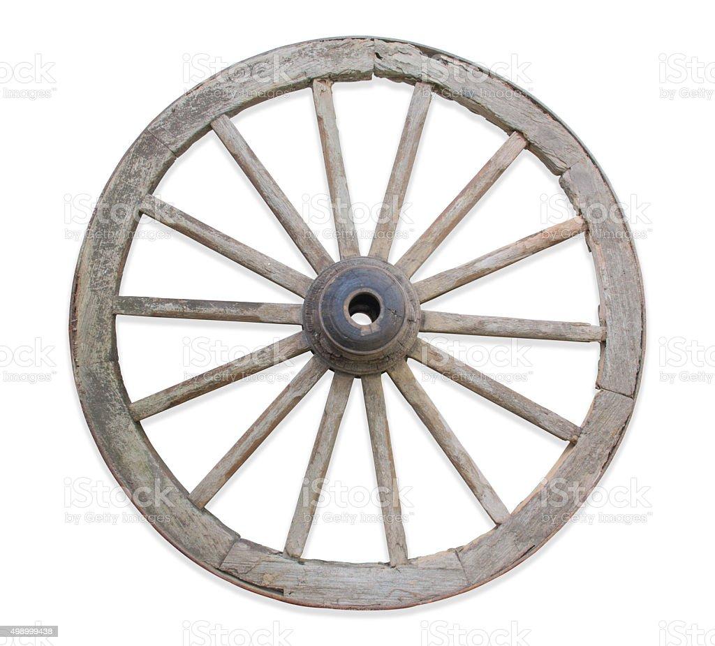 Old wooden wheel. stock photo