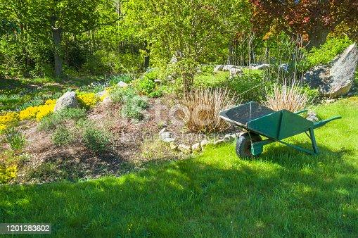 istock Old Wooden Wheelbarrow 1201283602