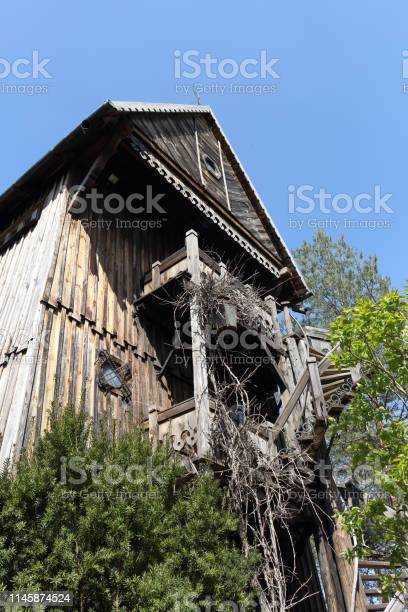 Old wooden windmill on the bank of River Vistula in Miecmierz, Kazimierz Dolny, Poland