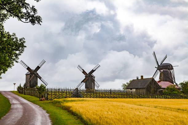 Old wooden windmills at farm on Estonian island Saaremaa stock photo