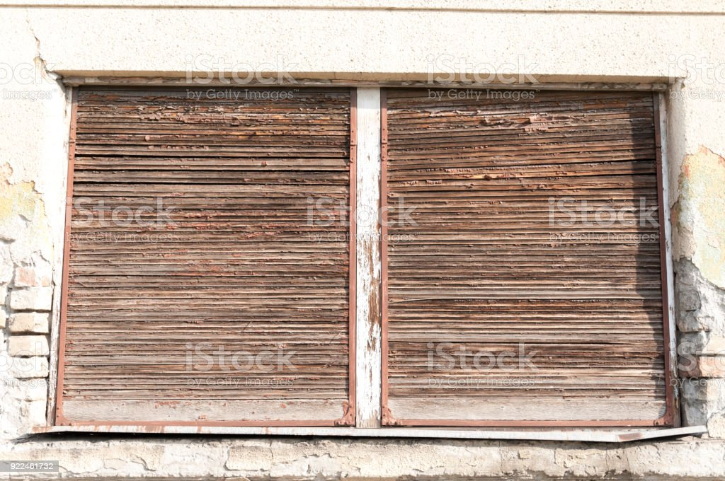 Old Wooden Window Sun Blinds With Peeling Paint Stock Photo Download Image Now Istock