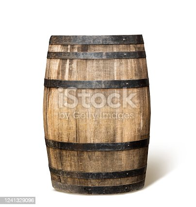 Old wooden wine barrel with clipping path.    photography.