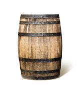 Old wooden wine barrel with clipping path.   \nphotography.