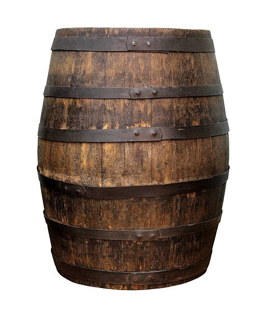 Old wooden wine barrel - foto de acervo