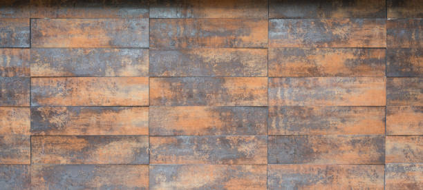 Old, wooden/metal texture; same, small horizontal plates in a row. stock photo