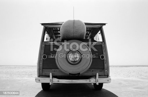 This is a photo that was originally taken with black and white film and later scanned as a digital file. There is a lot of space for copy above the woodie.Click on the links below to view lightboxes.