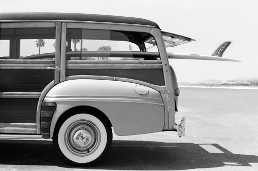 This is a photo that was originally taken with black and white film and later scanned as a digital file. There is space above the woodie that can be extended vertically to add copy if desired.Click on the links below to view lightboxes.