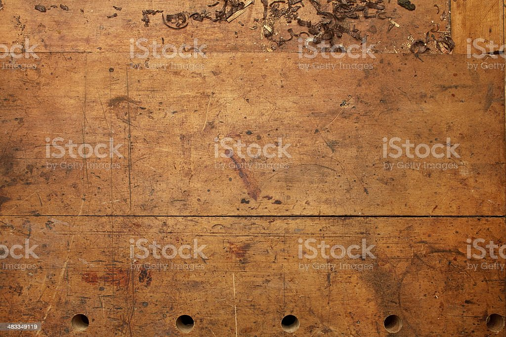 Old Woodworking Bench Top Background stock photo