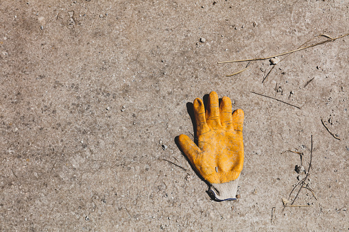 Old glove leave on paving footpath background