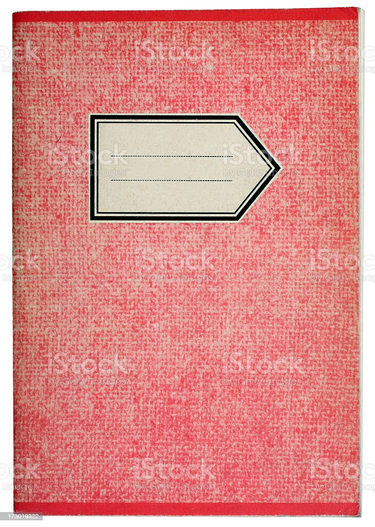 Old workbook in red stock photo