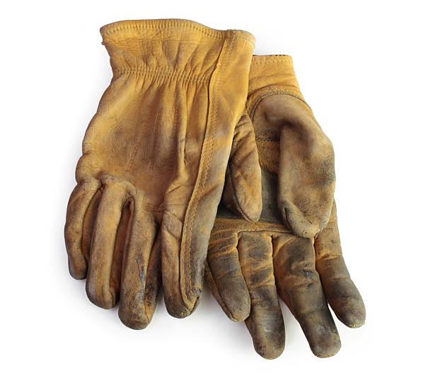 old arbeiten handschuhe - arbeitshandschuhe stock-fotos und bilder