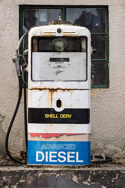 old working shell diesel pump in street of dornach. - dornach stock-fotos und bilder