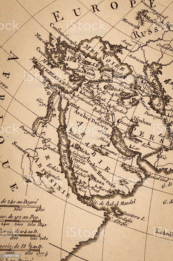 Old world map, Arabian Peninsula stock photo