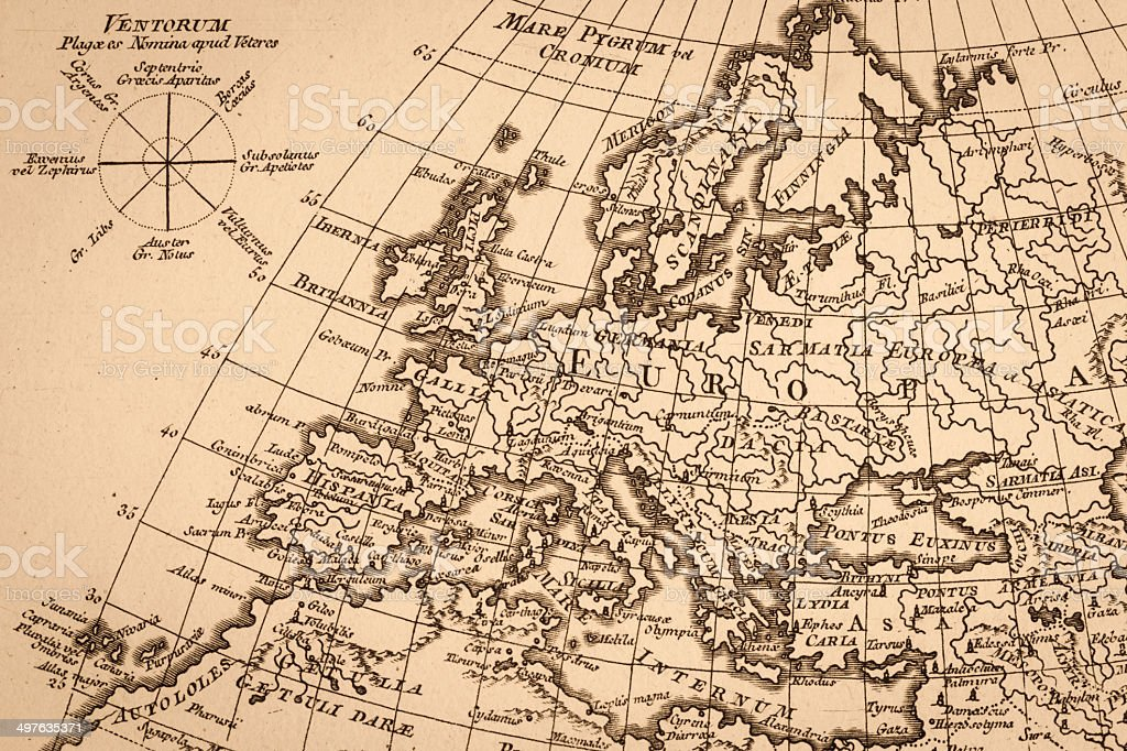 Mapa do mundo antigo, a Europa - foto de acervo