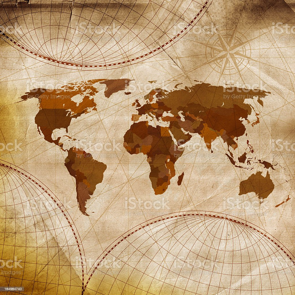 Old world map in shades of brown and white stock photo