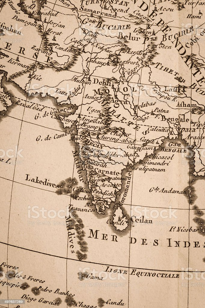 Old world map india stock photo more pictures of 18th century istock old world map india royalty free stock photo gumiabroncs Image collections