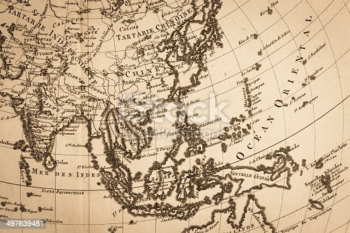 istock Old world map, Japan and East Asia 497639481