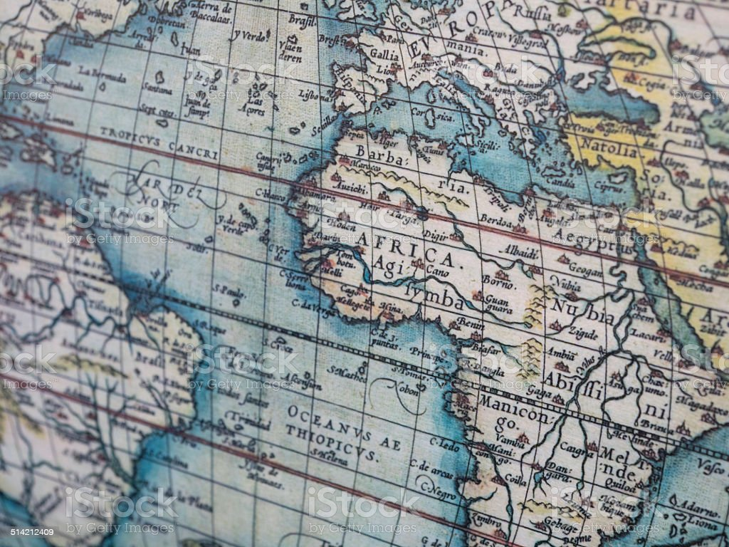 Old world map of Africa stock photo