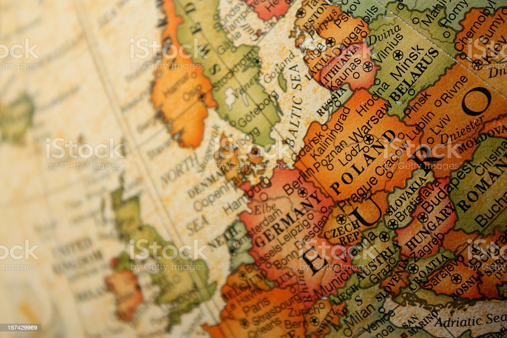 Old World Map of Europe stock photo