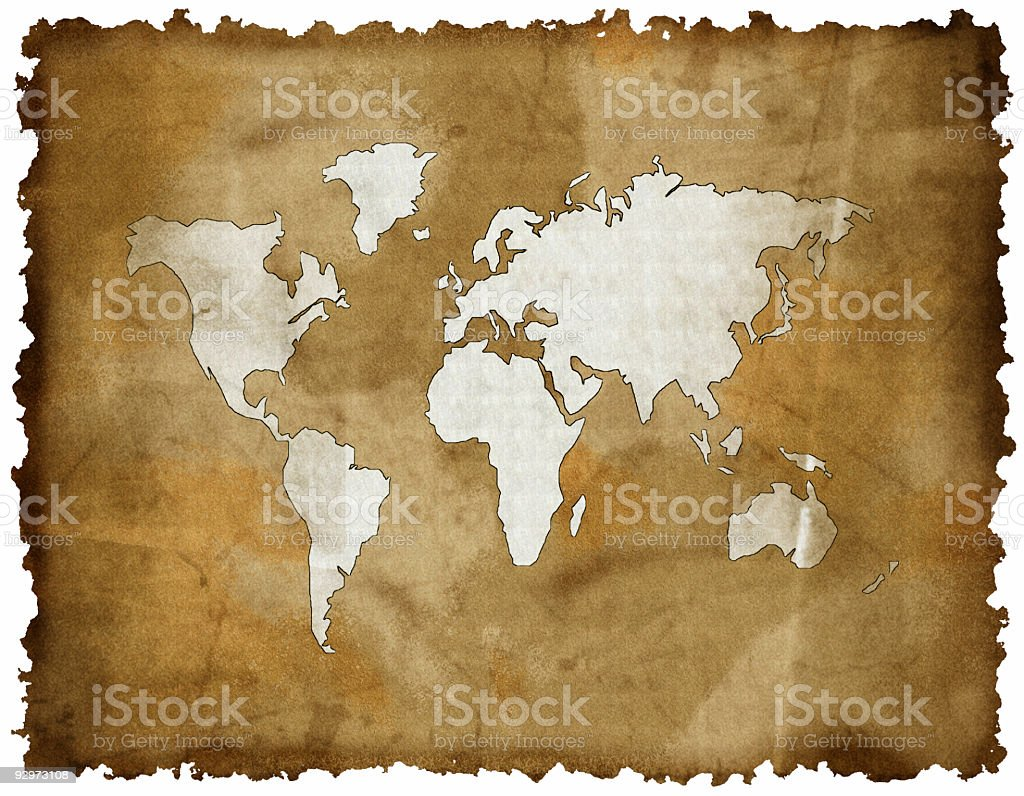 old world map on grunge retro paper royalty-free stock photo