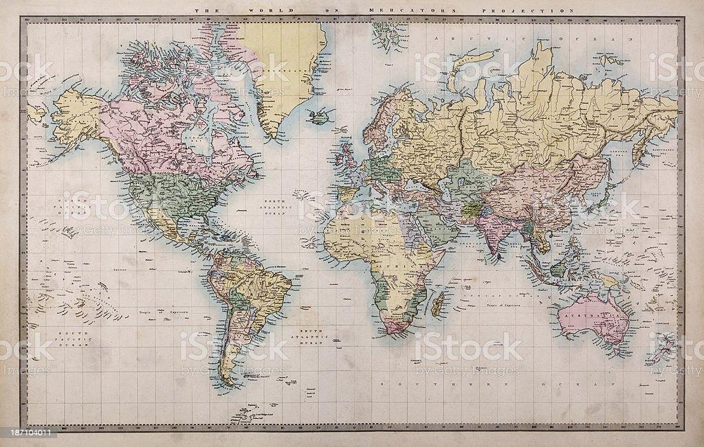 Antiguo mapa mundial en Mercators proyección - foto de stock