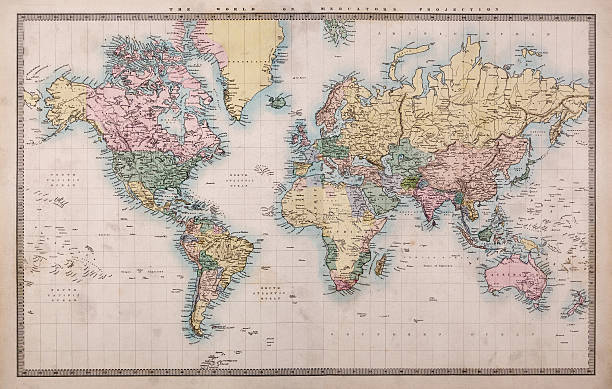 vieille carte du monde sur mercators de projection - antique photos et images de collection