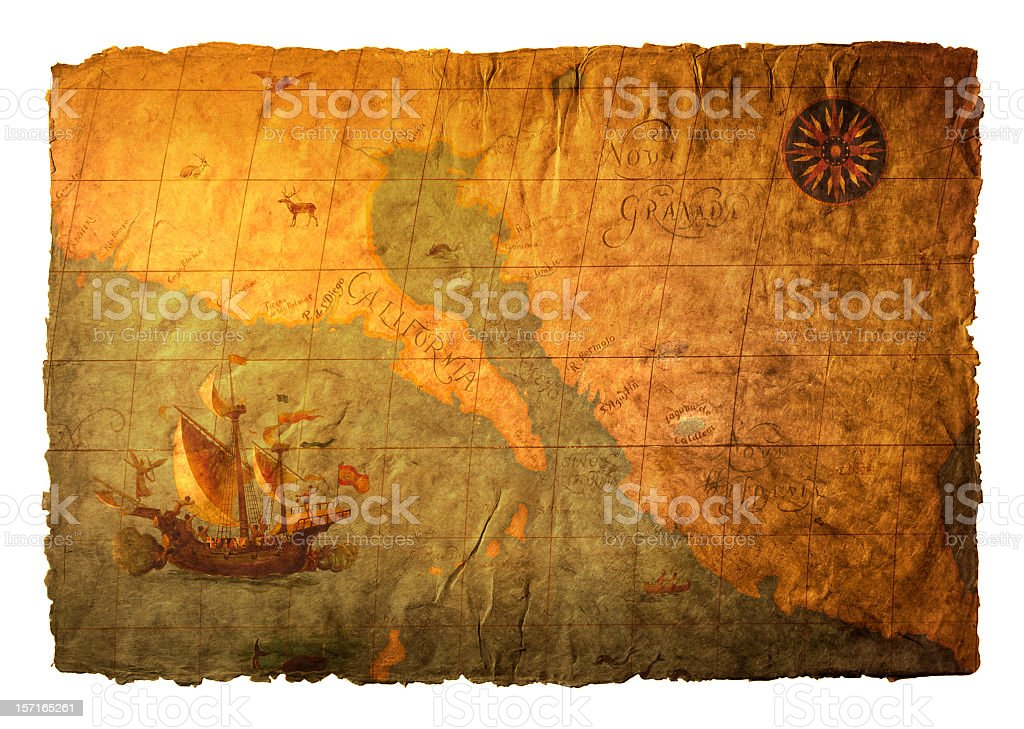Old World Map On Richly Textured Surface stock photo