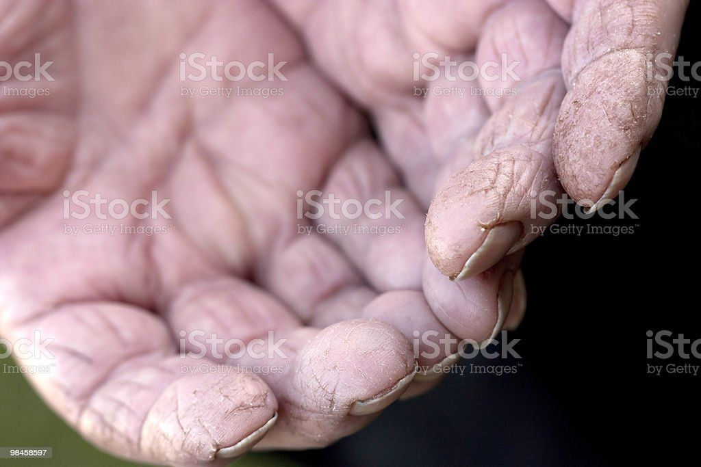 old worn out hands in the garden royalty-free stock photo