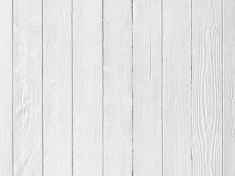 Old blank, textured white wooden timber board background with worn edges and lots of cracks and scratches, a great backdrop for rural and rustic copy space design.
