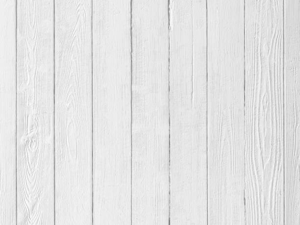 Old, worn, weathered, old, white wooden panel abstract background with lots of wood grain texture. stock photo