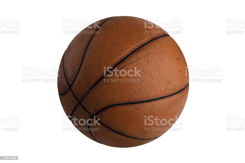 Old Worn-out Leather Basketball stock photo