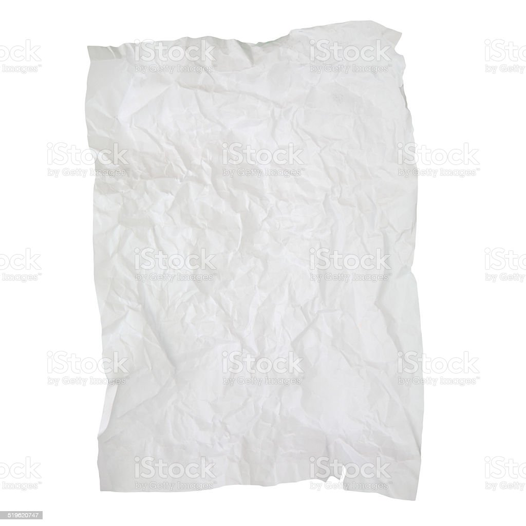 Old wrinkled paper texture isolated on white background stock photo