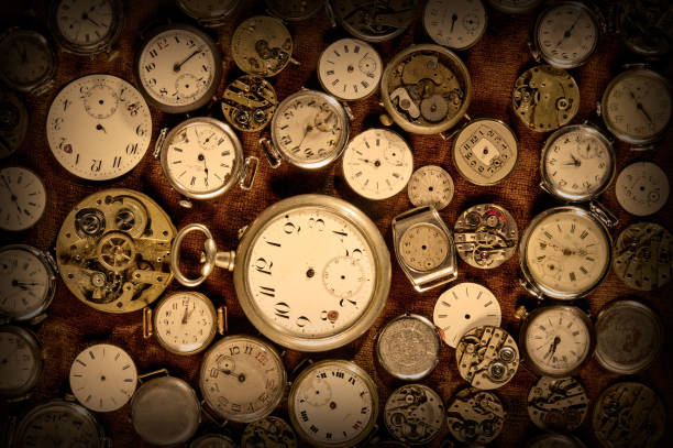 Old wrist watches and parts. Darkening along the edge. stock photo