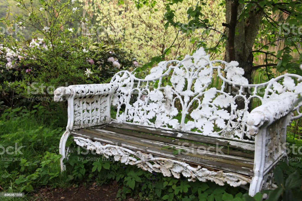 Amazing Old Wrought Iron Bench In The Garden Stock Photo Download Gmtry Best Dining Table And Chair Ideas Images Gmtryco