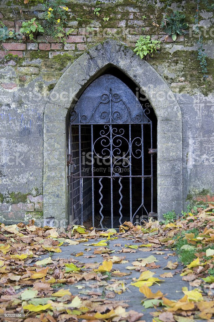 Old wrought iron castle door royalty-free stock photo