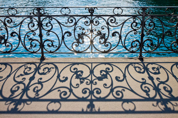 Old wrought iron railing on a walkway in Lucerne (Switzerland) - image with copy space stock photo