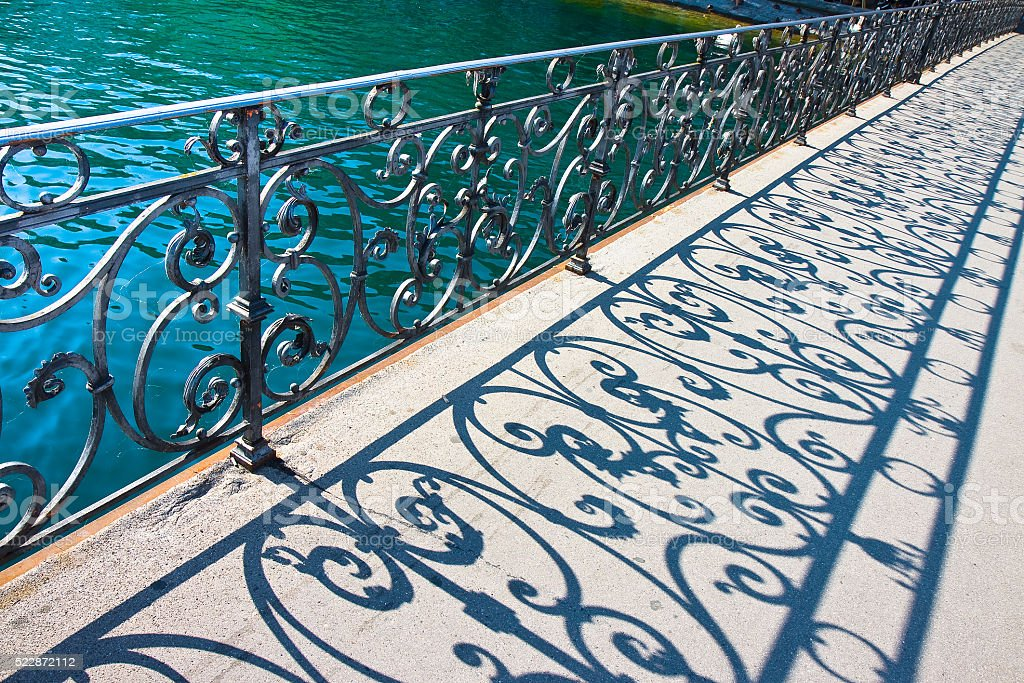 Old wrought iron railing on a walkway in Lucerne (Switzerland) stock photo