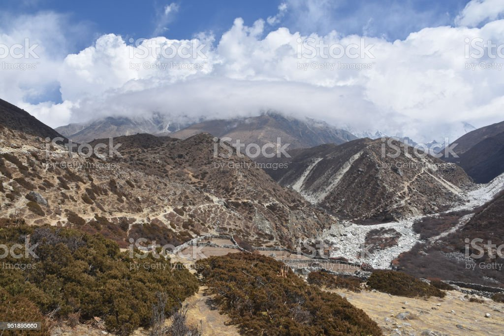 Old Yak farm close to Dingboche, Nepal stock photo