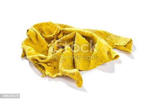 istock Old yellow cleaning rag 498336078