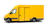 Old yellow delivery van on white background